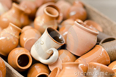 Clay cups and vases