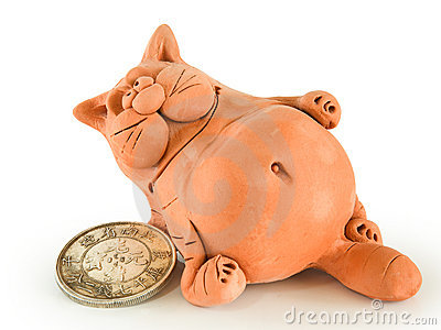 Clay fat cat with coin