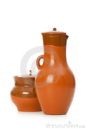 Clay jars isolated