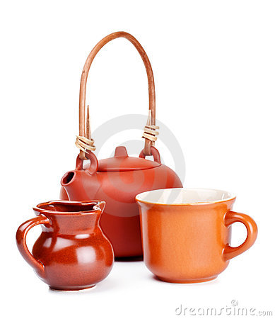 Free Clay Kettle And Cup Stock Photo - 17978300