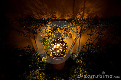 Clay lamp in garden