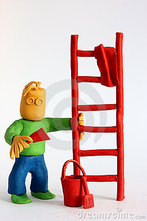 Clay painter holds a ladder