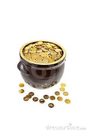 Clay pot full of coins