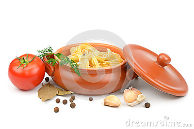 Clay pot with pasta