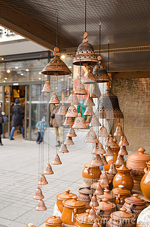 Clay pots hang bells ware store shop market people