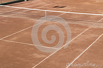 Clay surface tennis court