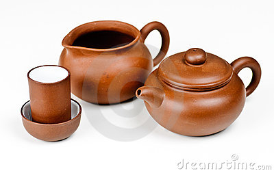 Clay tea pot with accessories