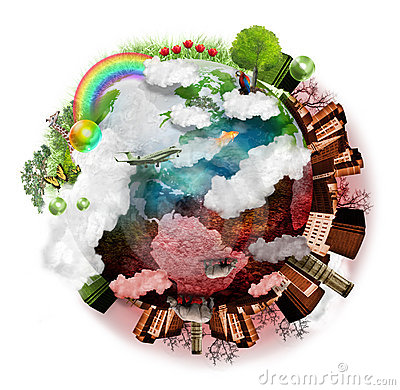 Free Clean Air And Polluted Earth Mix Royalty Free Stock Image - 23308796