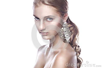 Clean beauty portrait of a blond