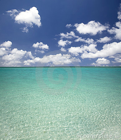 Clean blue water and cloud