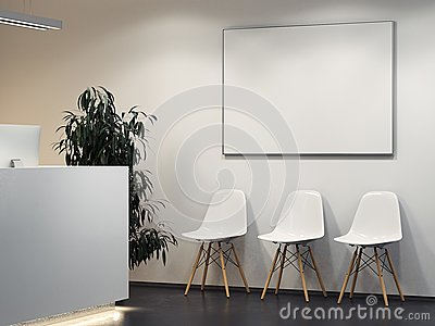 Clean bright interior with reception and row of chairs. 3d rendering Stock Photo