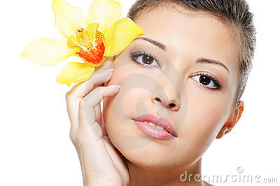 Clean complexion of a beauty asian female face