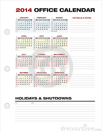 2014 Clean Corporate Office Calendar Week Numbers Vector