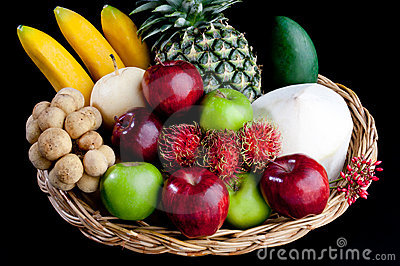 Variety fruits in the basket isolated