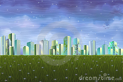 Clean ecological city over green summer meadow