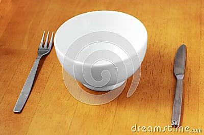 Clean, Empty White Bowl.