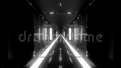 Clean Futuristic Scifi Tunnel Corridor With Glass Windows And Endless Hot Metal 3d Illustration Live Wallpaper Motion