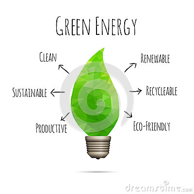 Vector illustration of clean green energy conceptual design element.