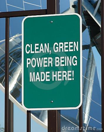 Clean green power sign