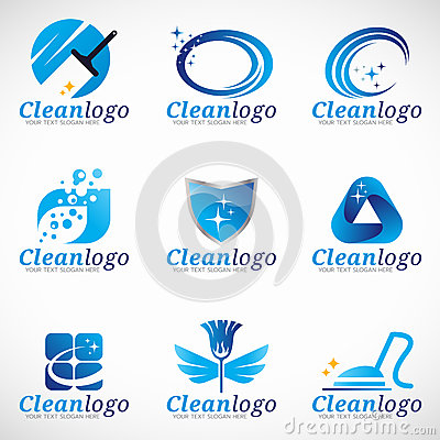Clean and Housekeeping service logo vector set design Vector Illustration