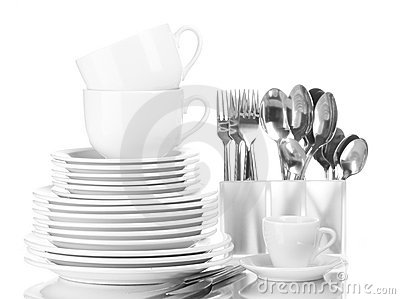 Clean plates, cups and cutlery
