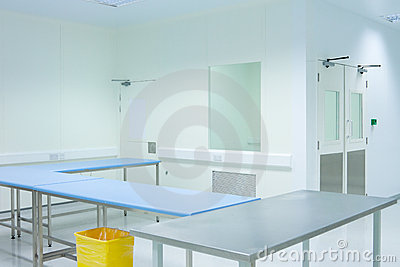 Clean room with tables