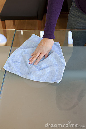 Clean table with micro fiber cloth