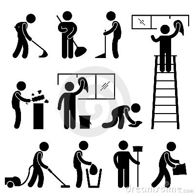 Clean Wash Wipe Vacuum Cleaner Worker Pictogram