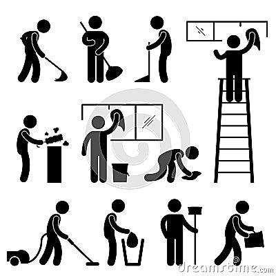 Clean Wash Wipe Vacuum Cleaner Worker Pictogram