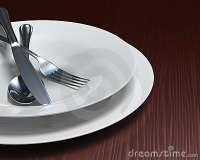 Clean white dishes & cutlery on dark woodgrain tab
