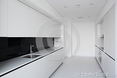 Clean white european kitchen