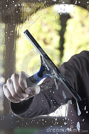 Free Clean Window With Squeegee Stock Photography - 18845162
