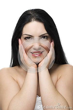 Clean woman face skin