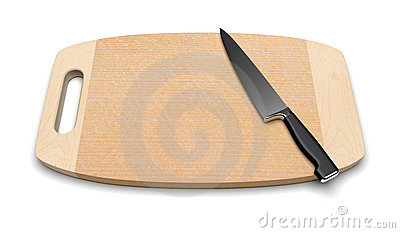 Clean wooden cutting board with knife