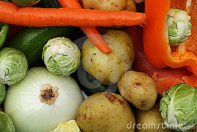 Cleaned and colorful fresh vegetables