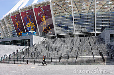 Cleaner at Kiev stadium at time of EURO 2012 Editorial Photography