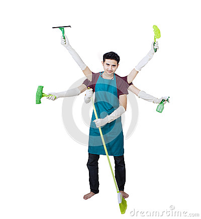 Cleaner with multi hands - isolated