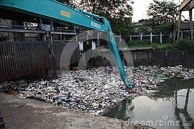 Cleaning Ciliwung River Editorial Image