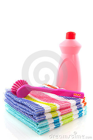 Cleaning cloths brush and liquids