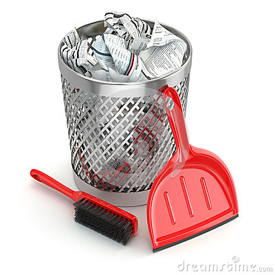 Free Cleaning Concept.Garbage Bin, Dustpan Or Scoop And Brush. Royalty Free Stock Images - 49056509