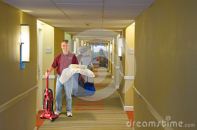 Cleaning crew hotel staff working