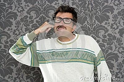 Cleaning ear finger dirty nerd man retro