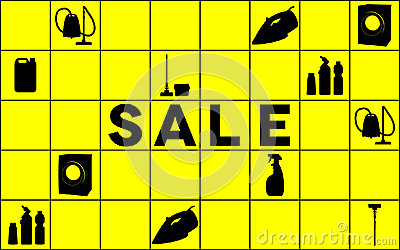 Cleaning equipment sale banner Vector Illustration