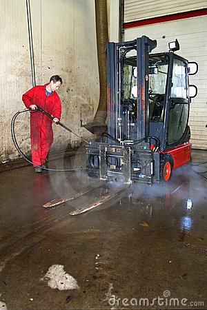 Cleaning a forklift