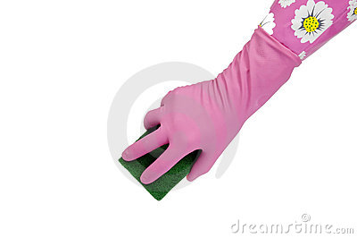 Hand in pink rubber glove with scrubbing sponge
