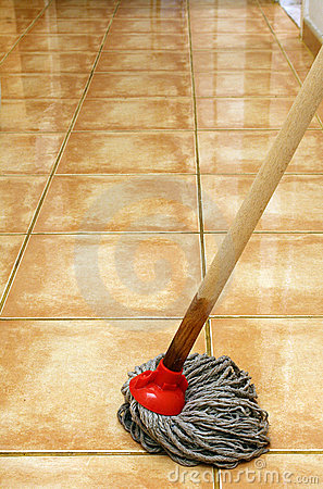 Cleaning at home with mop