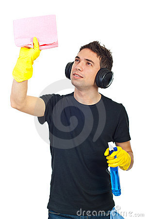 Cleaning house worker man