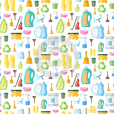 Free Cleaning Icon Seamless Pattern Royalty Free Stock Images - 40030819