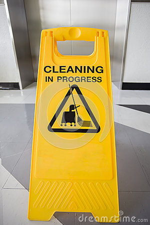 Free Cleaning In Progress Caution Sign In Office Royalty Free Stock Photography - 59748817