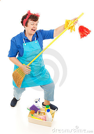 Free Cleaning Lady Fun Royalty Free Stock Photography - 10505287